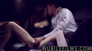 Sexy brunette gets fucked in limo by rich buddy