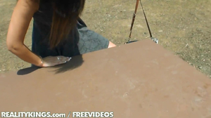 Radiant brunette gets seduced by stranger in the park