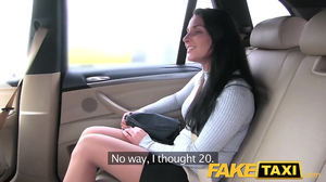 Driver takes out stress with the help of cute brunette
