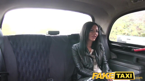 Russian brunette got fucked in Czech fake taxi