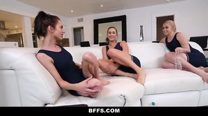 Gorgeous lesbians have a nice time after training