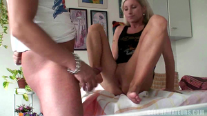 Subservient blonde is always ready to service her BF