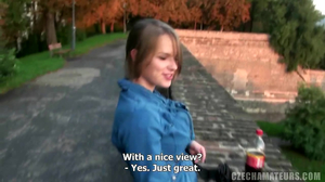 Chubby young beauty blows her boyfriend in public