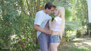 Cute skinny blonde masturbates before fucking outdoors