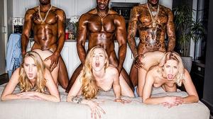 Three sexy blondies share three monster black cocks