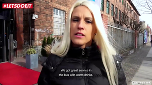 Sexy blondie Blanche Bradburry is picked and fucked in a bus