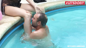 Stacy Cruz enjoys the sweet sensation from her stepdad by the poolside