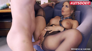 Slutty school girl Alessandra Jane sucks cock in detention