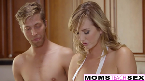 Mother and daughter get fucked hard in the kitchen