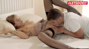 Petite whore in black stockings is a good cock rider