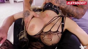 Hardcore BDSM fuck with busty blonde in black lingerie