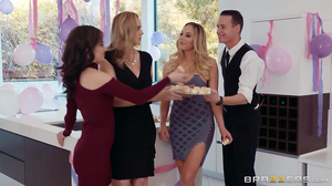 Blonde cougars with irresistible melons share big dong