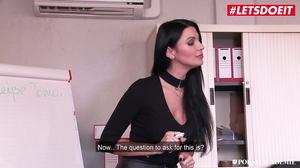 Hot teacher fucks her student and boss in MFM threesome clip