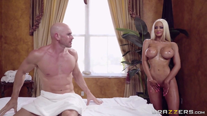 Blond masseuse massages her client and his big meat pole