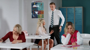 Blonde whore gets drilled by her instructor during class