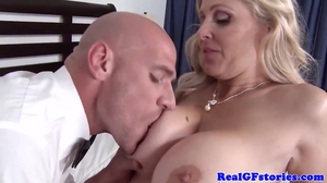 Blonde mature with perfect melons gets served big cock