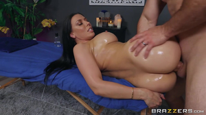 Oiled up brunette with bubble butt gets smashed hard