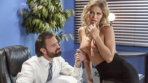 Blonde secretary with monster boobs fucks her boss