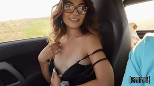 Glasses wearing brunette rides cock after a ride