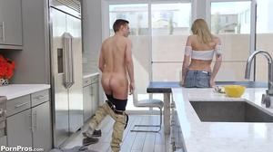 Blondes wet hole gets stuffed in the kitchen