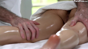 Natural boobs babe getting fucked by her masseur