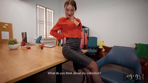 Subtitled sex scene with a brunette bimbo