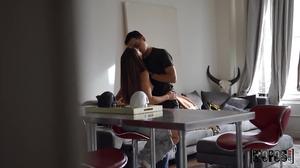 Voyeur fuck scene with a leggy brunette babe