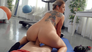 Inked up naked yoga chick enjoying hard anal
